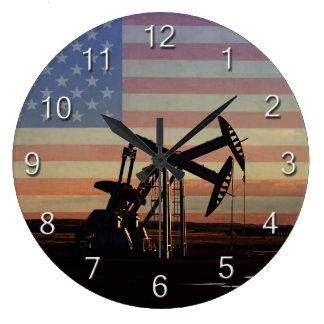 油井および米国旗 ラージ壁時計