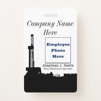 油田の従業員の写真同一証明 バッジ