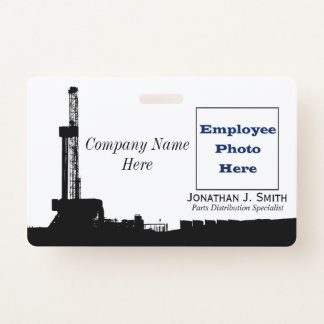 油田の従業員、名前、写真同一証明 バッジ