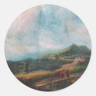 油絵による雲の美しい ラウンドシール