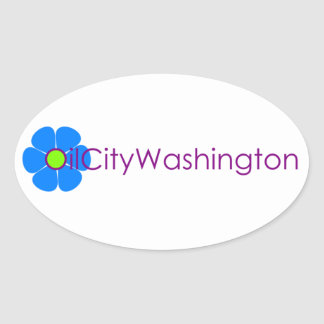 油都市ワシントン州のフラワーパワーのステッカー 楕円形シール
