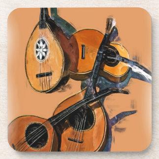 油、ぼやけられた端のひもでつながれた楽器 コースター