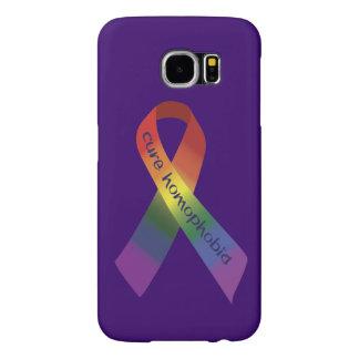 治療の同性愛恐怖症の認識度のリボン SAMSUNG GALAXY S6 ケース