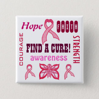 治療-ピンクのリボン-をカスタマイズ可能なPin見つけて下さい 5.1cm 正方形バッジ