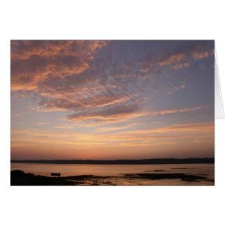 沼地の日没-空白のな挨拶状 カード