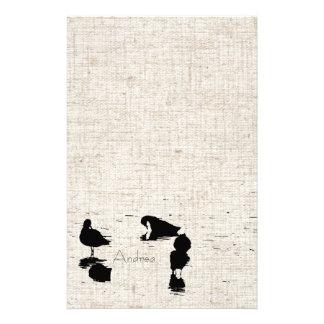 沼地の鳥のリネン一見の文房具 便箋