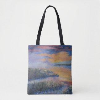 沼地上の日没 トートバッグ