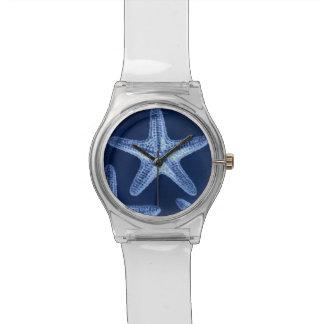 沿岸シックなビーチの素朴で航海ので青いヒトデ 腕時計