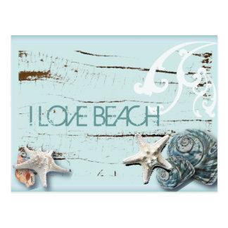 沿岸シックな木製の水の青いヒトデの貝殻 ポストカード