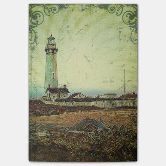 沿岸シックな油絵の景色の灯台 ポストイット