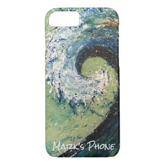 沿岸ビーチの波の抽象美術 iPhone 8/7ケース