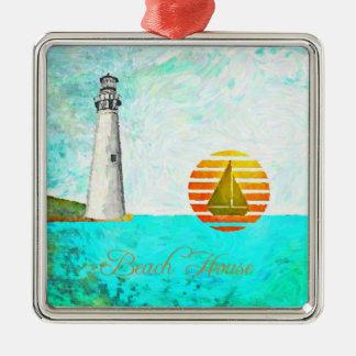 沿岸ビーチハウスの灯台海 メタルオーナメント
