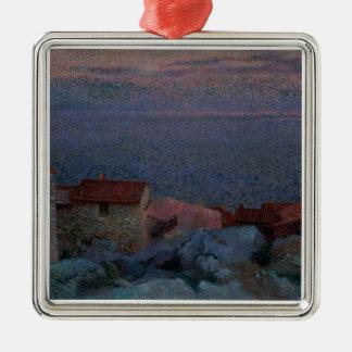 沿岸景色(キャンバスの油) メタルオーナメント