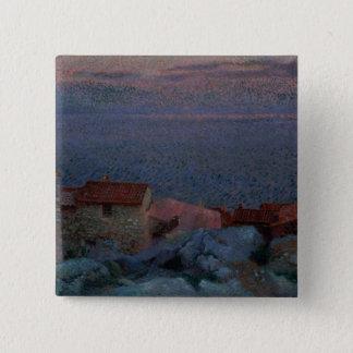 沿岸景色(キャンバスの油) 5.1CM 正方形バッジ