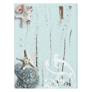 沿岸水の青いビーチの木製のヒトデの貝殻 テーブルクロス