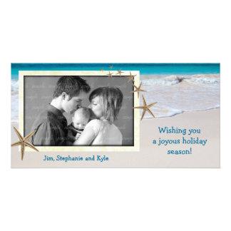 沿岸生きている海家族の休日の写真カード カード