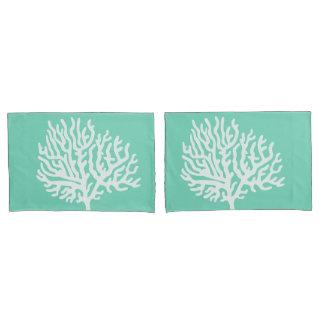 沿岸白海の珊瑚及び海ガラスの緑 枕カバー