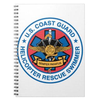 沿岸警備隊の救助の泳ぐ人 ノートブック