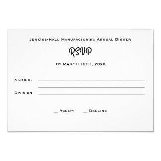 法人企業の会社の夕食のイベントRSVP カード
