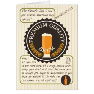 法律のBroのためのおもしろいな父の日レトロビールラベル グリーティングカード