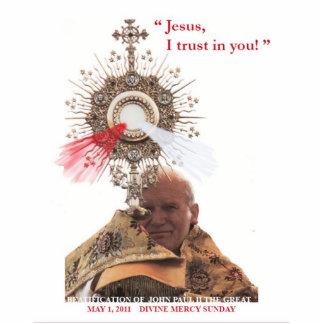 法王ヨハネパウロ二世及び神の慈悲のphotosculpture 写真彫刻(台付き)