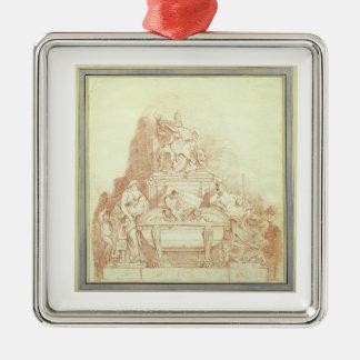 法皇のUrban墓Gianlor著VIII (1568-1644年) シルバーカラー正方形オーナメント