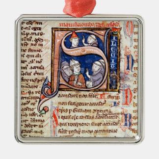法皇を描写しているグレゴリーHistoriatedのイニシャル」 メタルオーナメント