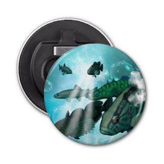 泡および照明効果の魚の群れ 栓抜き