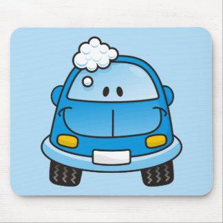 泡が付いている青い車 マウスパッド