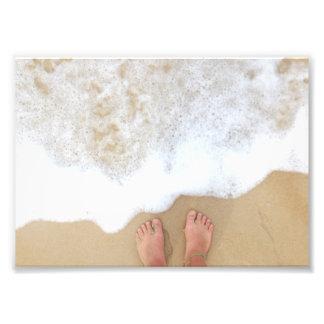 泡のビーチの足 フォトプリント