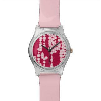 泡の流れ、パステル調ピンク 腕時計