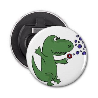 泡を吹いているおもしろいな緑のTレックスの恐竜 栓抜き