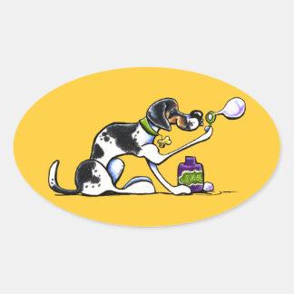 泡を吹いているアメリカFoxhound 楕円形シール