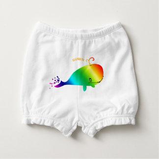 泡を持つ微笑の虹のクジラ おむつカバー