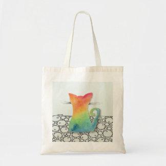 泡トートバックを持つ絞り染め猫 トートバッグ