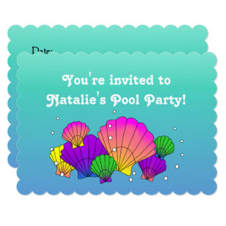 泡プールを囲んでのパーティの招待のカリブ海の貝 12.7 X 17.8 インビテーションカード
