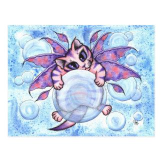 泡妖精の子ネコのファンタジー猫の芸術の郵便はがき ポストカード