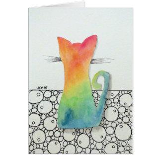 泡挨拶状を持つ絞り染め猫 カード
