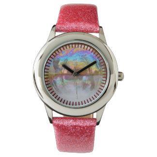 泡時間ピンクのパステル調のグリッターの反射の腕時計 腕時計