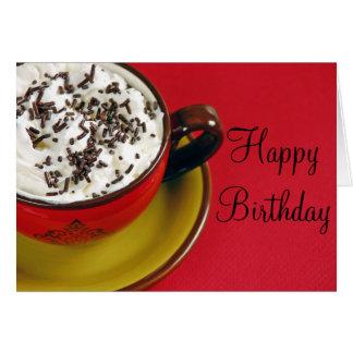 泡立ったコーヒーラテの誕生日の挨拶状 カード