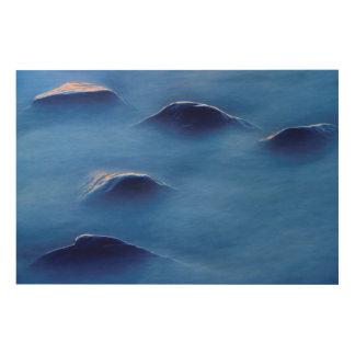 泡立った水を通って突出る石の日没 ウッドウォールアート