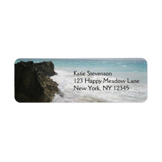 泡立った波の海景の青緑の海 返信用宛名ラベル