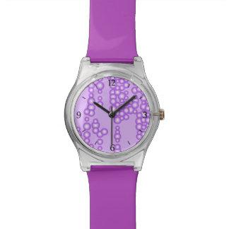 泡、ラベンダーの陰の流れ 腕時計