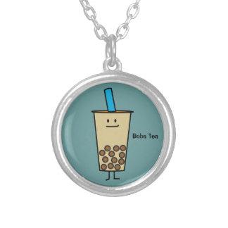 泡Bobaの真珠のミルクの茶タピオカの球 シルバープレートネックレス