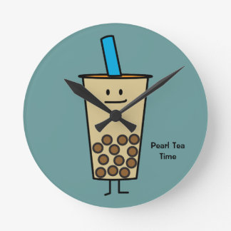 泡Bobaの真珠のミルクの茶タピオカの球 ラウンド壁時計