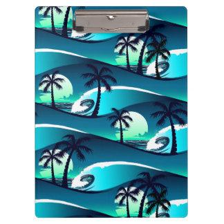 波およびヤシの木 クリップボード