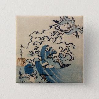波および鳥、c.1825 5.1cm 正方形バッジ