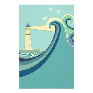 波が付いている東海岸の灯台 便箋