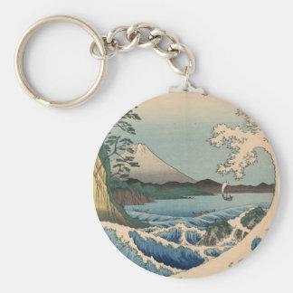波と富士山、広重の波および富士山、Hiroshige ベーシック丸型缶キーホルダー