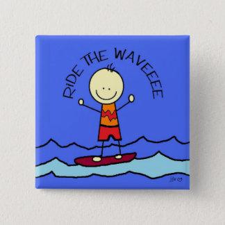 波に乗って下さい 5.1CM 正方形バッジ